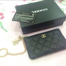 chanel key pouch. chanel black lambskin coin pouch card holder key gold hard ward. ghw. e