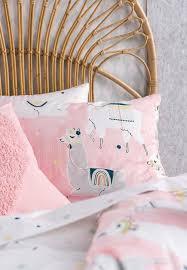 linen house llama party kids duvet cover set pink
