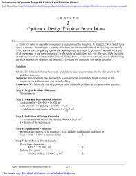 What Is Optimum Design Introduction To Optimum Design 4th Edition Arora Solutions