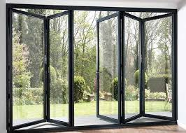 modern aluminium frame accordion sliding glass doors with anodizing surface treatment