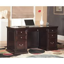 home office decor brown. Interesting Brown Wooden Desk By Kathy Ireland Furniture On Dotted Rug For Home Office Decor Ideas