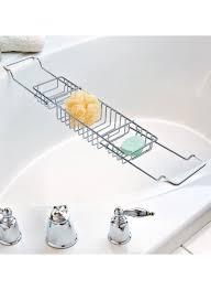 dorable chrome bathtub caddy ornament shower room ideas bids us s in utilities bath on linen chest elfa expandable valet rods