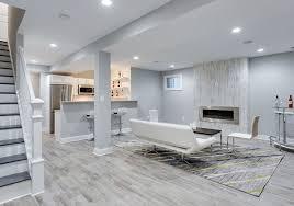 modern basement with wood design porcelain tile floor