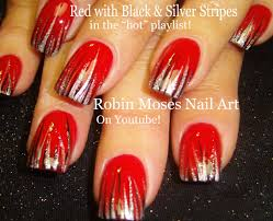 Easy Nail Art | Red Black & Silver Stripe Nail Design Tutorial ...