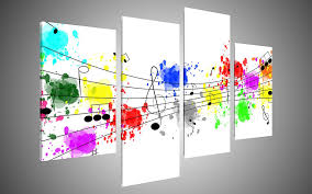 colorful graffiti notes clef modern canvas wall art decor with stretched frame ready to hang