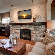 Living Room With Fireplace Design 45 Modern Family Room With Beautiful Stone And Shiplap Fireplace