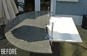ed granite patio table repair stone has been fitted to plywood support previously installed by reused granite worktop installation
