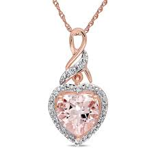 8 0mm heart shaped pink morganite and diamond accent pendant in 10k rose gold