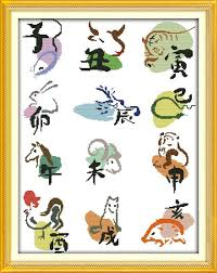 Free Zodiac Chart 11ct Cartoon Patchwork Chinese Zodiac Chart Diy Needlework Dmc Free Cross Stitch Kits For Embroidery Knitting Needles Crafts In Package From Home