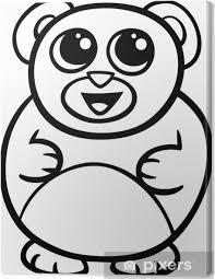 Quadro Su Tela Fumetto Da Colorare Orso Kawaii