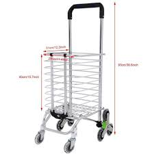 Portable Light Carts E Four Shopping Cart Portable Utility Carts Folding Trolley Light Weight Stair Climbing With Triangle Crystal Wheel Blue Bag