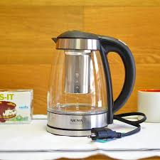aromatherapy glass electric kettle tea infuser aroma awk 165di 7 cup glass and stainless digital kettle