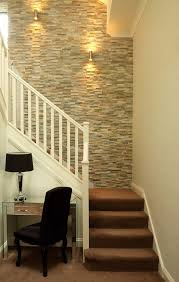 Stairway wall decorating ideas staircase transitional with desk chair  designer furniture mirrored furniture