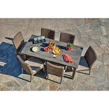 thy hom winchester 7 piece antique grey hard wood grey all weather wicker patio dining set with beige cushions