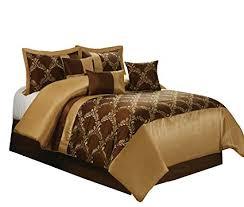 Amazon.com: 7 Piece Claremont Medallion Design Bed in a Bag Brown ...