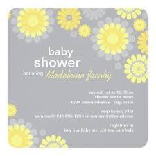Baby Shower Invitation Yellow Gray Daisy Delight Square Invitation