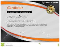 modern certificate diploma award template black orange stock  modern certificate diploma award template black orange