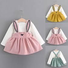 Thời Trang Trẻ Em Bé Gái Tai Thỏ Đầm Thời Trang Tay Dài In Xù Đầm Công Chúa  Quần Áo Verkleedkleding Kinderen|Váy