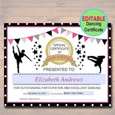 Dance Award Certificate Editable Dancer Certificate Instant Download Dancing Award