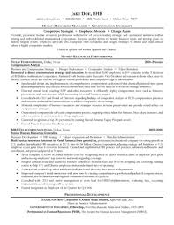 Manager And Compensation Specialist Resume