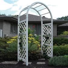 dura trel 4 5 ft w x 7 5 ft h white garden arbor