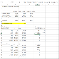 Taxes Spreadsheet Will You Pay More Or Less Taxes When You Get Married