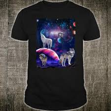 Wolf Design Sweatshirts Funny Cute Wolf Galaxy Stars Wild Animal Universe Design Shirt