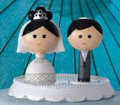 Kokeshi Japanese Inspired Bride Groom Wedding Cake Toppers
