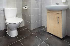 grey tile in bathroom