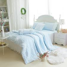 Girls Sky Blue Solid Tulle Ruffle Quilt Bedding Sets-Girls Lace ... & Girls Sky Blue Solid Tulle Ruffle Quilt Bedding Sets Adamdwight.com