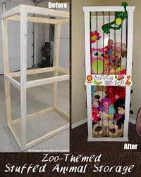 Zoo themed stuffed animal storage DIY idea! A good, fun and cute way to