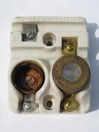 vintage deadstock electrical parts etc old antique early edison socket fuse holder w mica window fuse 1901 patent date