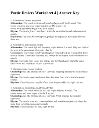 Poetic Devices Worksheet 4   Answers
