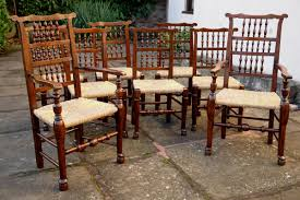 Set Of Antique Dining Chairs Ear Spindle Back Adams Antiques