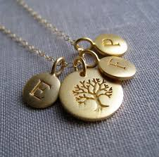 personalized family tree necklace gold family initial necklace tree of life charm mothers necklace mommy necklace grandmother via