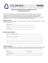 Absence Form Authorized Activity Excused Absence Form Colorado School Of Mines