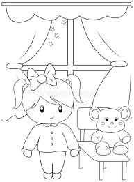 Small Picture Cute Little Girl Coloring Page Stock Illustration Image 49892378