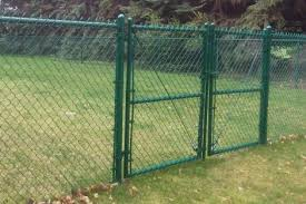 Metal chain fence gate Yardgard Green Chainlink With Double Gate Allison Fence Company Chainlink Fence Gallery Frontier Fence