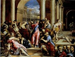 some think the raphael is el greco which is more likely for one significant and overlooked fact the figure in the corner resembles christ in the center