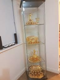 ikea detolf glass door cabinet in black brown