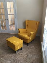 ikea strandmon wing chair skiftebo yellow ottoman for ikea reading chair with ottoman