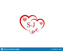 SJ Initial Heart Shape Red Colored Logo ...