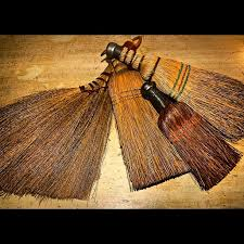 vintage hand brooms why not hang one by the fireplace we love the turkey
