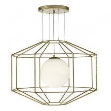 the lighting book izmir hexagonal old gold ceiling pendant with opal glass globe inner shade