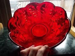vintage ruby red crystal art glass 10 serving bowl scallop rim fostoria rambler