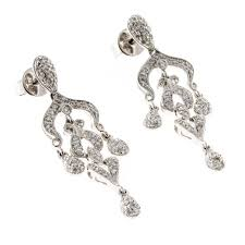 diamond white gold dangle chandelier earrings in good condition for in stamford ct