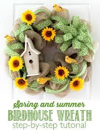 diy spring and summer birdhouse wreath tutorial