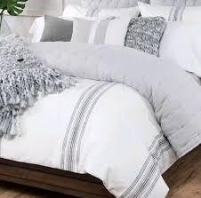ugg home 3pc king duvet cover sham set snow white granite gray striped new