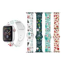 <b>Christmas</b> Pattern <b>Silicone Band for</b> Apple Watch 1 - 5