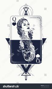Tattoos Casino Designs Queen Playing Card Sacred Geometry Tattoo Royalty Free